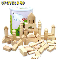 UTOYSLAND 65pcs/set Natural Wooden Building Blockings Forest Old Castle Kids Toys Early Educational DIY Toy Gift for Children