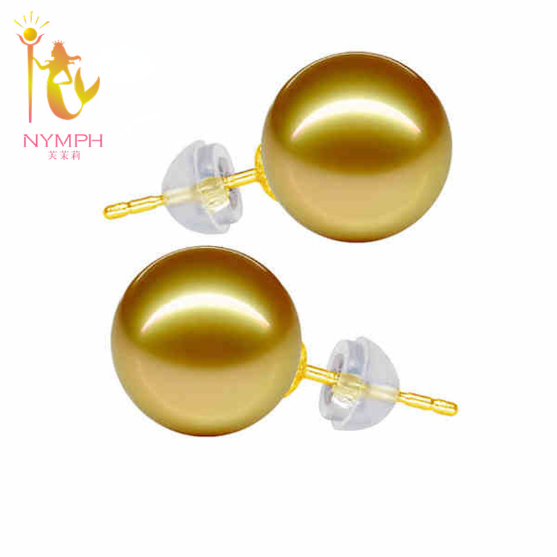 [NYMPH]Classic 18K yellow Gold SouthSea Pearls Stud Earrings 9-10mm Pearl Earrings For Women Round AU750 Fine Jewelry SE01 nymph brand 18k 9 10mm pearl pendant necklaces for women yellow gold pearl fine jewelry gift party luxury lifestyle