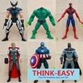 6 tema pçs/set super hero avengers brinquedos das crianças, terno para 3 + criança, aniversário/presente de Natal dolls figuras para o menino, aranha bat