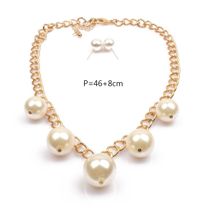 ZHINI Fashion Jewelry New Personality Temperament Simple Short Word Pendants Imitation Pearl Necklace Earrings For Women E01952