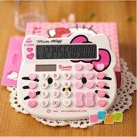 12 цифр дисплей мини карманный розовый милый роскошный hello kitty калькулятор двойной мощности Calculadora hesap makinesi Bowknot Kalkulator