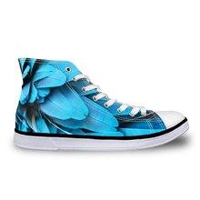 Noisydesigns casual män sneaker pojkar vintage spets upp höga platta skor manliga vulkaniserade utomhus duk blå fågel fjäder tryck