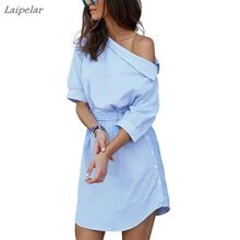 купить 2018 Summer Women Fashion Blue Striped One Shoulder Dress Ukraine Sexy Side Split Short Sleeve Dress Waistband Beach Party Dress по цене 585.53 рублей