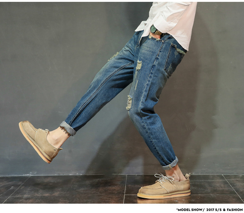 famous brand factory leather zipper jeans men deep blue slim straight pants masculina vaqueros trouse mid regular solid pencil 12