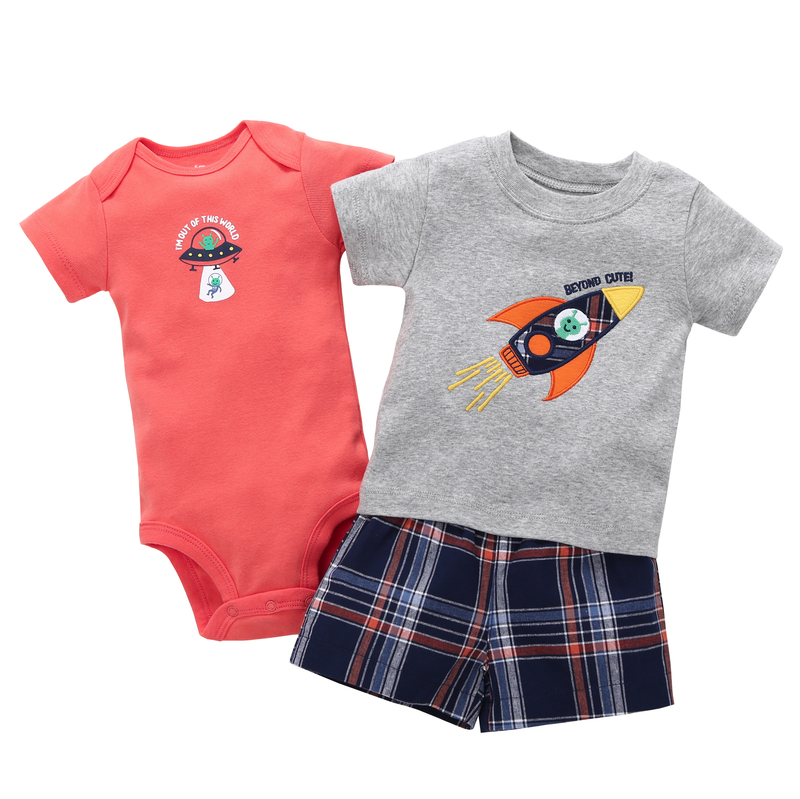 2018 summer Infant newbron baby boy clothes suit cotton short sleeves romper+rockets T-shirt Tops+shorts 3pcs/sets