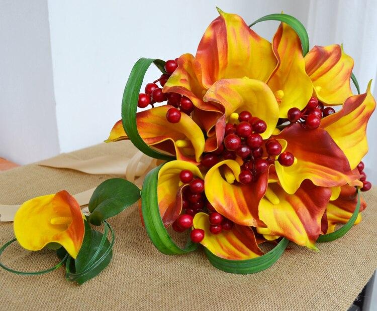 Pu Kunstliche Blume Hochzeit Braut Mit Blumen Orange Calla 16