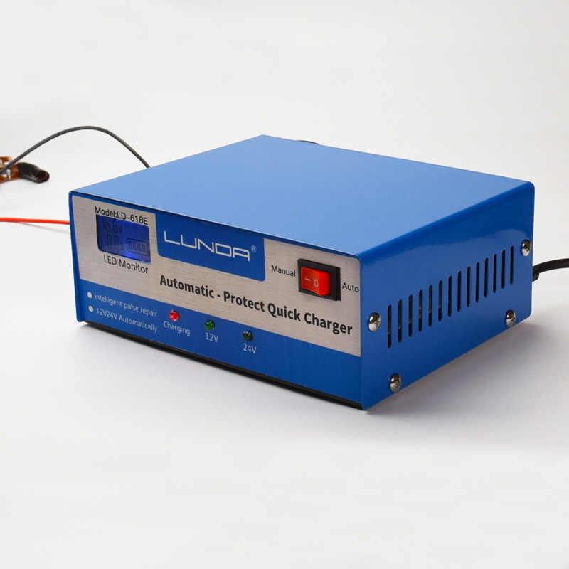 Smart Automatic Car Battery Power Charger 130V 250V to 12V 24V 200AH LED Display For Car Truck Boat Motobike Lead Acid Gel