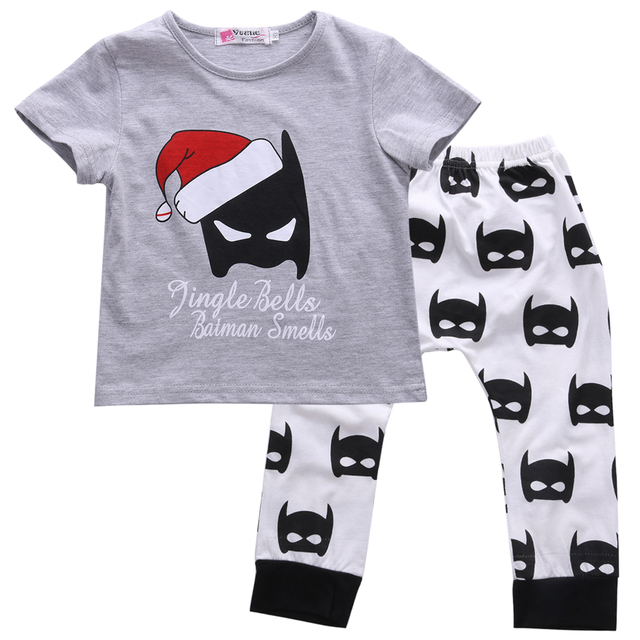 d4d99187b446 Baby Kids Boy Girls Christmas Outfits Batman T shirt+Pants 2pcs baby ...