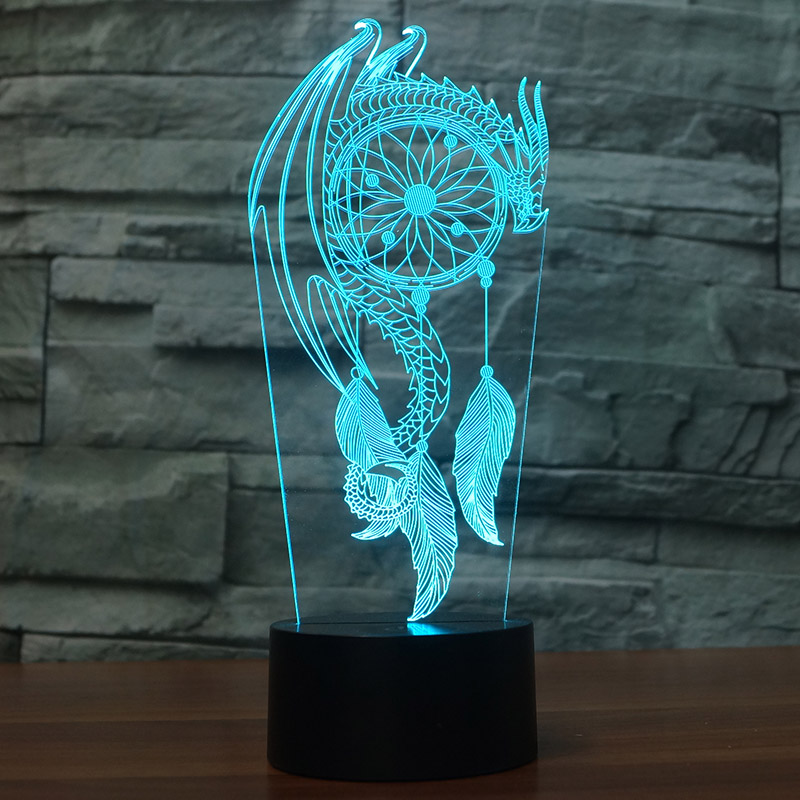 Acrylic 7 Colors Changing Dragon Feather Led Nightlights 3D light LED Desk Table Lamp USB 5V Lamps for Home Decoration