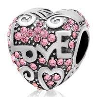 Fit Pandora bracelets New coeur perles d'origine 925 breloques en argent sterling avec zircon femmes mode bijoux