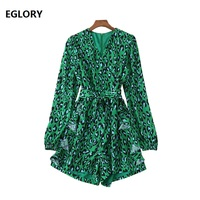 High Quality Short Jumpsuits 2019 Spring Summer Fashion Playsuits Women V Neck Green Leopard Print Long Sleeve Casual Jumpsuit