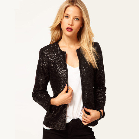 Slim Women Sequins Jackets Full sleeve Fashion winter coat for Cropped Coat Costume Party Bomber Jackets