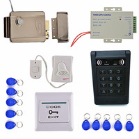 Strong Electric Door Lock 125KHZ EM KeyPad Card Access Control System Kit Door Swtich Button Power