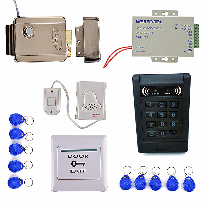 Strong Electric Door Lock+ 125KHZ EM KeyPad Card Access Control System Kit +Door Swtich Button +Power Supply 10 rfid card 125khz em keypad card access control system kit power supply door swtich button