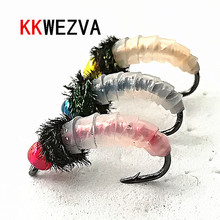 KKWEZVA 24PCS Peacock Feather Artificial Nymph Scud Silicone Skin Fly Fishing Flies for Trout Lures insect Bait