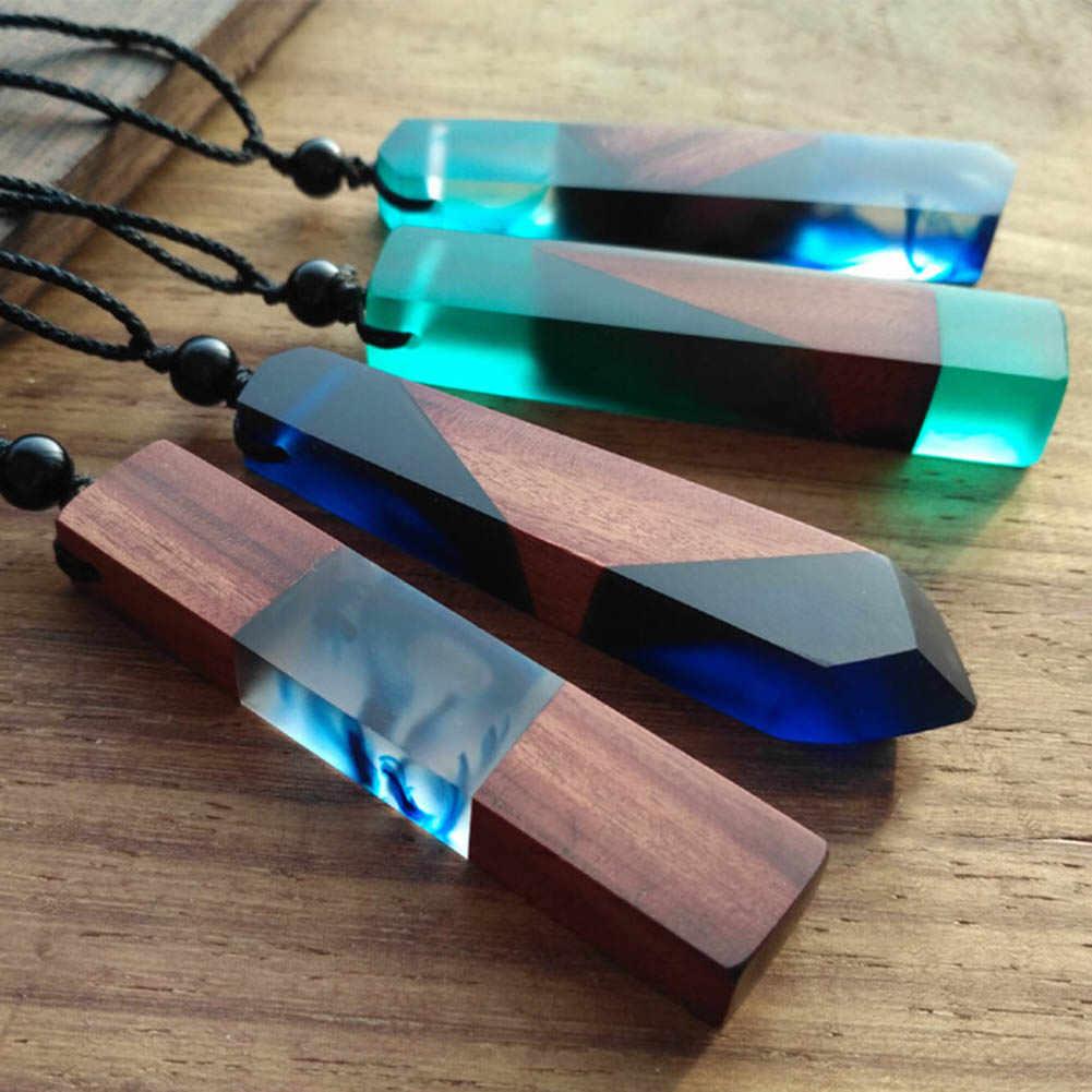 1 sztuk Hot sprzedaż moda kobiety mężczyźni naszyjnik Handmade Vintage żywica drewno naszyjniki wisiorki długa lina drewniany naszyjnik biżuteria