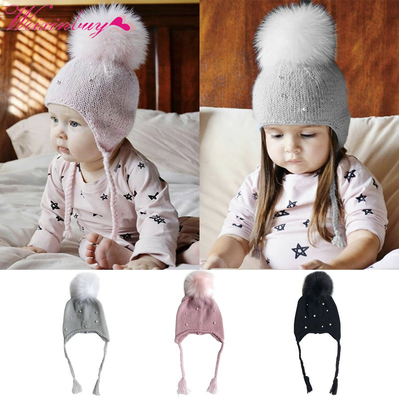 Fashion Baby Hats with Pearl Autumn Winter Hat for Girls Kids Crochet Beanies Boys Caps with pom pom Knit hats 0-4 Years недорго, оригинальная цена