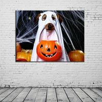 デザイナー家の装飾動物写真に ペイント素敵な犬抽象絵画キャンバス絵画現代抽象油絵ハロウィン