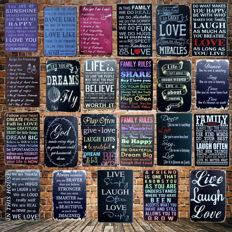Follow Your Dreams Farmhouse Style Family sign Home Decor Print 20 x 20 cm