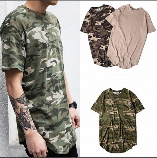 Nuevo Hipster streetwear hombres mujeres camiseta hip hop Swag ropa urbana  camuflaje rayas oversized camiseta extendida 2e5f575023b