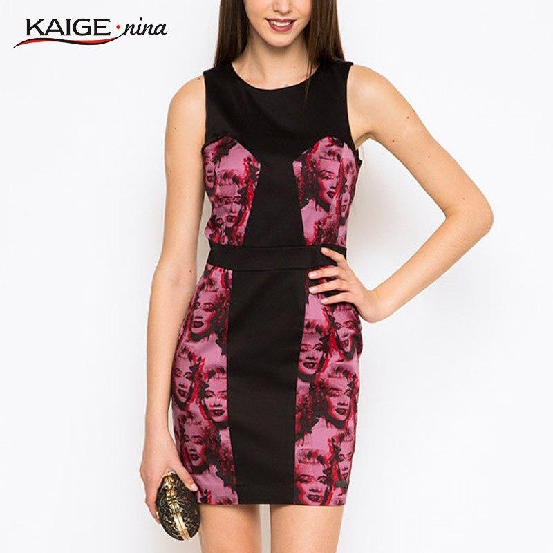588ad6091ae KaigeNina Nouvelle Mode Vente Chaude Femmes Appliques Robes Gaine O-cou  Genou-Longueur Sans Manches En Mousseline de Soie Robe 1137