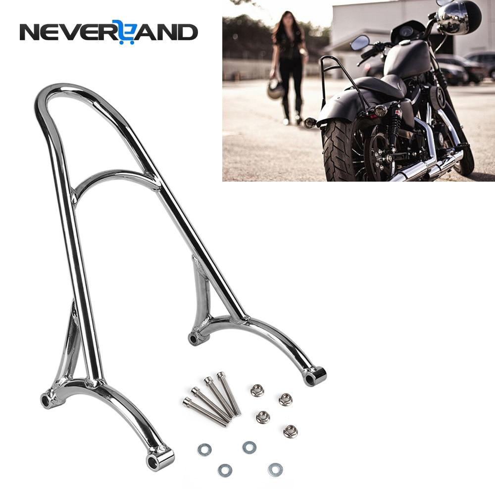 цена на NEVERLAND Burly Shorty Sissy Bar Bracket Motorcycle Back Rest For Harley Sportster 883 1200 XL 2004-2016 2015 2014 D35