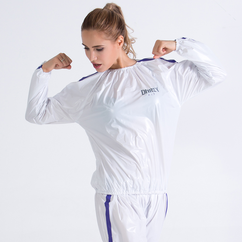Heavy Duty Fitness Postpartum Mom Weight Loss Sweat Sauna Suit Exercise Gym Anti-Rip White And Blue