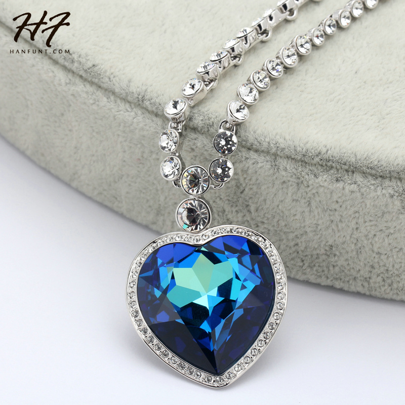 Image 2 - Sliver Color The Heart of Ocean Austrian Blue CZ Crystal Pendant  Necklace For Women HotSale N585 N586heart of oceanheart of the  oceannecklaces for women