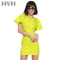 HYH HAOYIHUI Brand Office Lady Solid Lemon Yellow ButterFly Sleeve High Waist Hollow Pleated Shaping Bodycon