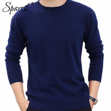 Sparsil Men's Winter O-Neck Business Cashmere Blend Sweater Knitted Pullover Autumn Casual&Fashion Soft Long Sleeve Knitwear C4
