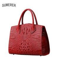 Genuine Leather Women Bags Luxury Handbags Women Bags Designer Handmade Crocodile Pattern Embossing Women Leather Handbags