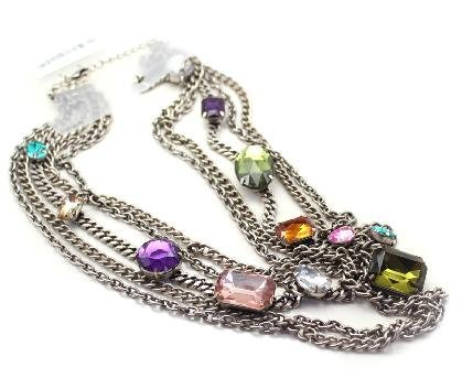 super price ,20pcs/lot,Retro multilayer colorful gem sweater chain,KL13511038168