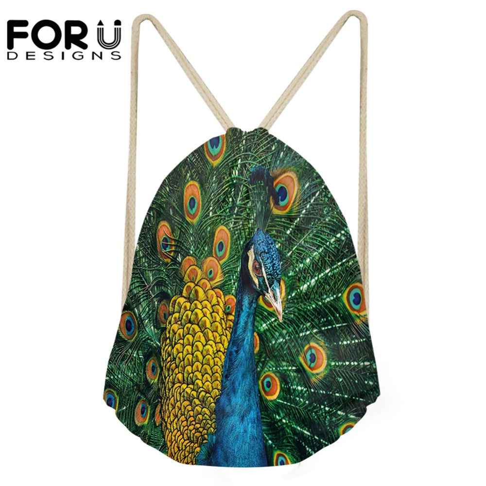 FORUDESIGNS 3D Portrait Of The Peacock Print Drawstring Bag Females School Beach Bag Women's Casual Shopping Bags For Teen Girls
