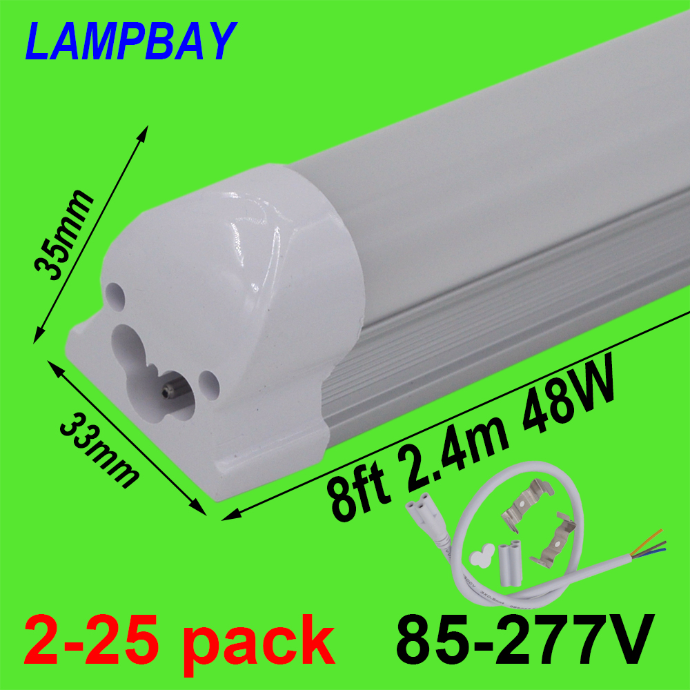 2-25pcs LED Tube Light 8 foot 2.4m T8 Integrated Bulb Fixture 40W 48W 8ft Bar Lighting Wall Lamp with fittings 110V 220V 277V free shipping led tube t8 bulb 8ft 40w 110 277vac r17d converter replace ho fluorescent lamp light
