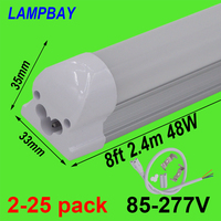 2 25pcs LED Tube Light 8 foot 2.4m T8 Integrated Bulb Fixture 40W 48W 8ft Bar Lighting Wall Lamp with fittings 110V 220V 277V