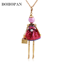 Bohopan 2019 Gold Metal Doll Pendants Necklace Solid Cupcake Dress Long Neck Chain Square Bags Statement Jewelry collares