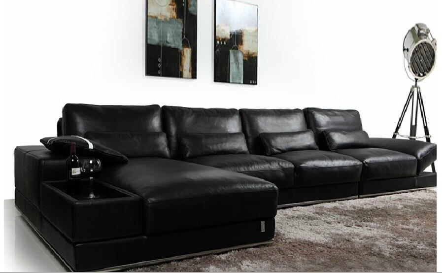 Tout noir canapé en cuir salon canapé moderne en cuir canapé ...