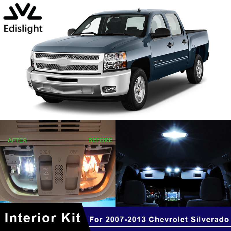 Edislight 13pcs canbus led lamp car bulbs interior package - Led interior lights for 2013 chevy silverado ...