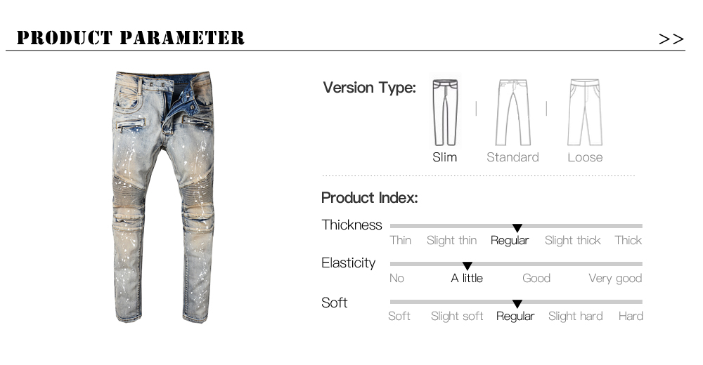 58ed5e69b03 Comprar ahora. Sokotoo Men s casual patches holes ripped biker jeans for  moto Fashion pleated patchwork slim straight denim pants ...