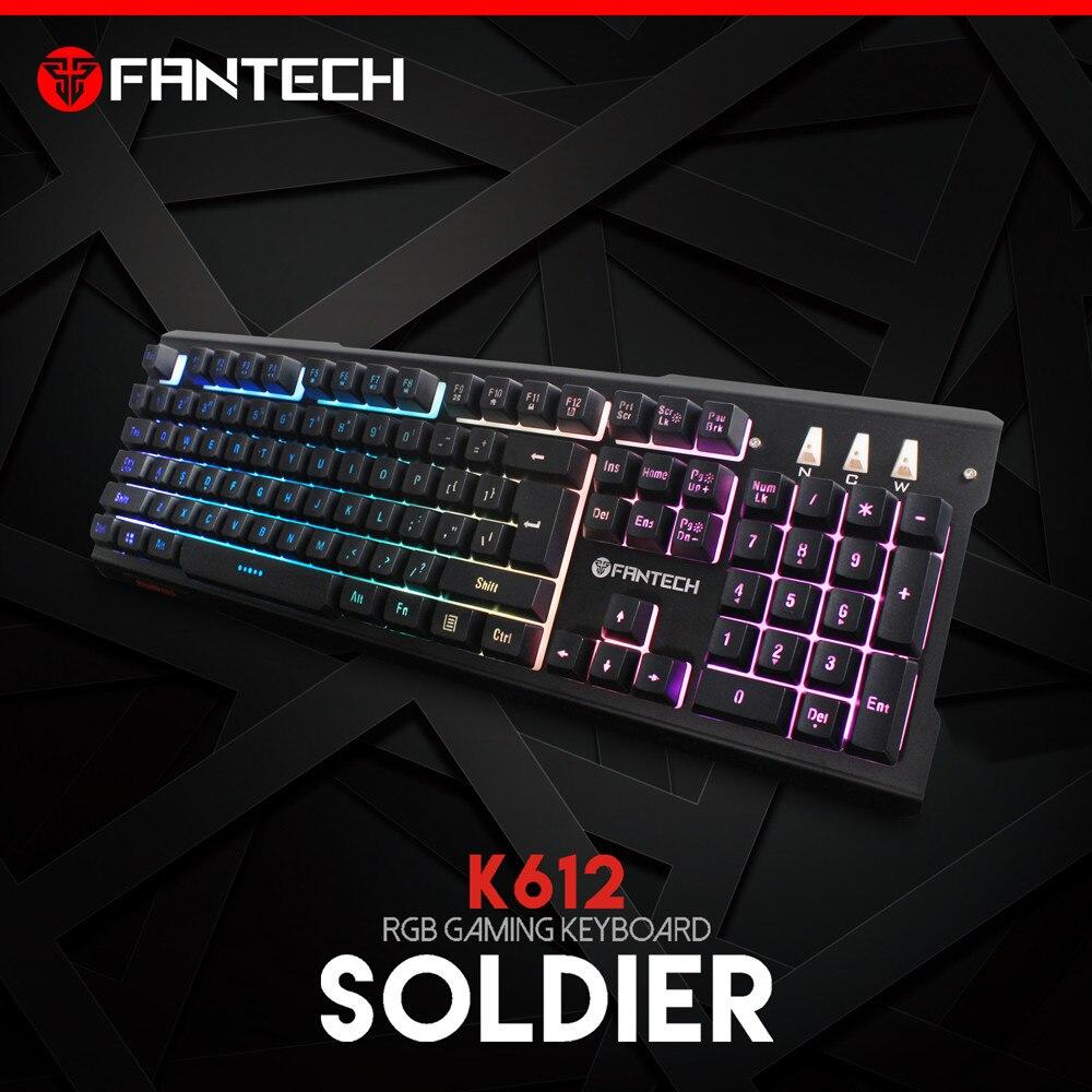 FANTECH K612 Professional Wired  Keyboard  9 Colors Backlight Game Waterproof Keyboard 3#M