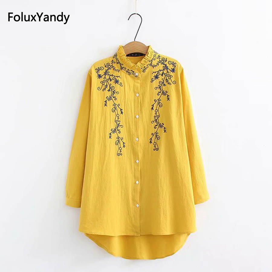 Stand Collar Casual   Blouses   Plus Size 3 4 XL Women Cotton and Linen Floral Embroidery Ruffles Long Sleeve   Blouse     Shirt   SWM1017