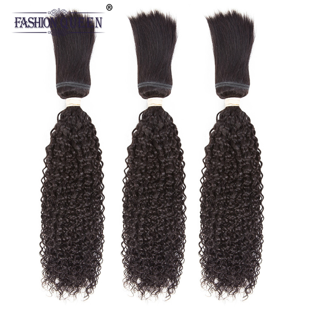 Fashion Queen Non-remy Hair Braid in Bundles 7A Peruvian Kinky Curly Human Hair 3 Bundle ...