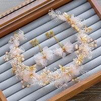 Coréenne coiffe de mariée guirlande de fleurs ornements de mariage éternel accessoires bijoux Libellule Demoiselle D'honneur bandeaux en gros