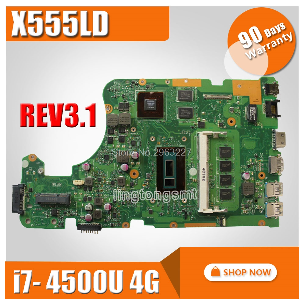 for ASUS Laptop Motherboard X555LD X555L X555lD F555LD X555LN X555LDB REV 3.1 Mainboard with i7 CPU GT840M 2G 100% tested for asus s551lb s551ln s551la r553l mainboard motherboard non integrated gt840m 2gb n15s gt s a2 with i7 4500 cpu sr16z tested
