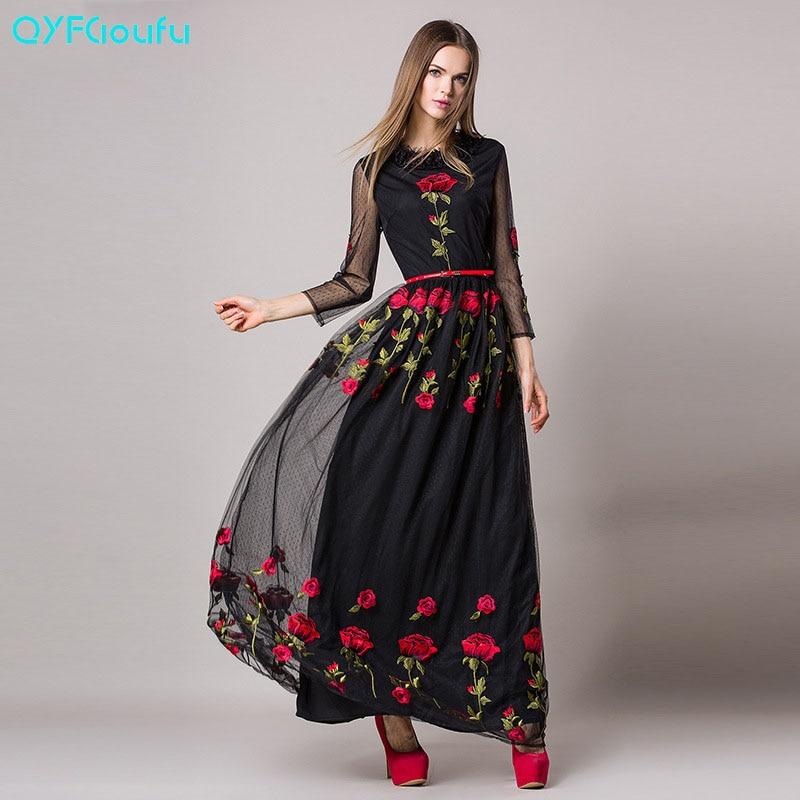 Qyfcioufu high quality luxury runway maxi dress women s
