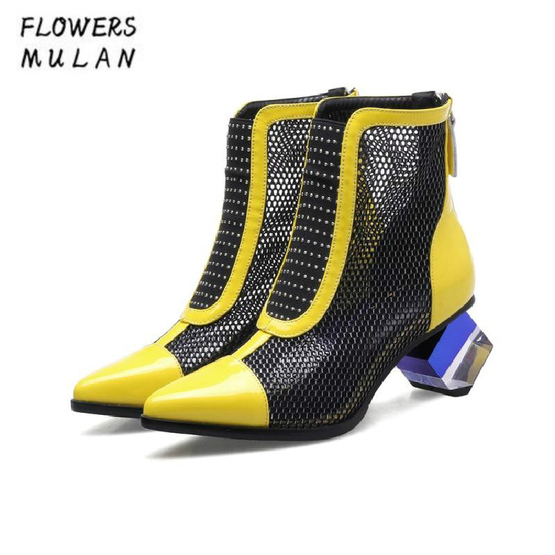 цена на Mixed Color Patchwork Mesh Leather Ankle Boots For Women Pointed Toe Strange Heel Spring Autumn Nude Shoes Strange Heel Shoes