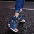 Cuñas de Zapatos De vestir Para Las Mujeres Peep Toe Tacones Altos Bombas Out Lace Up High Top Botines de Plataforma de Suela Gruesa de Mezclilla Ocasional enredaderas