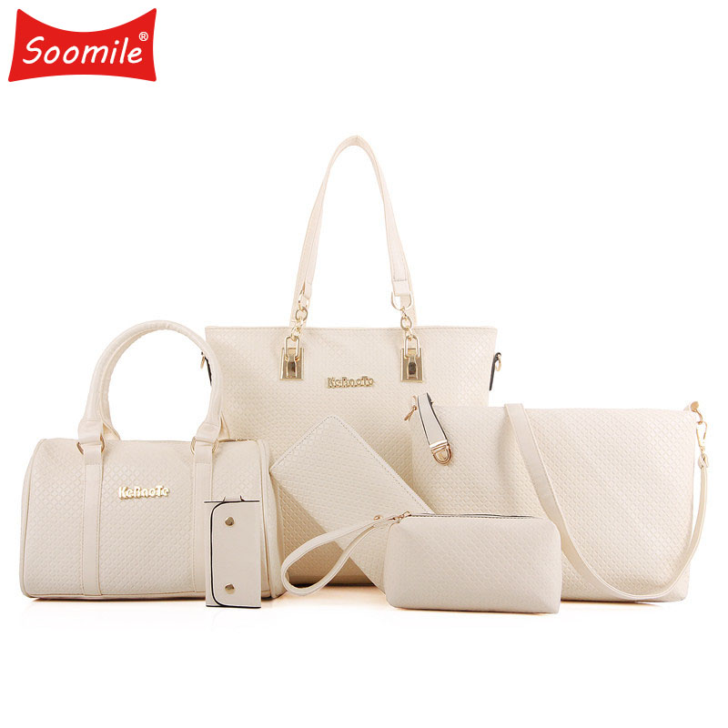 Soomile Lady Handbag 6 Pcs/set Composite Bags Set  NEW Brand Luxury Women Shoulder Crossbody Bag Female Purse Clutch Wallet 2018 jooz brand luxury belts solid pu leather women handbag 3 pcs composite bags set female shoulder crossbody bag lady purse clutch