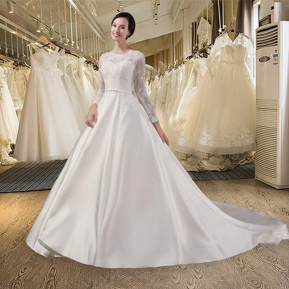 SL028 White vestido de noiva lace Bridal Gown Beading Full sleeves ...