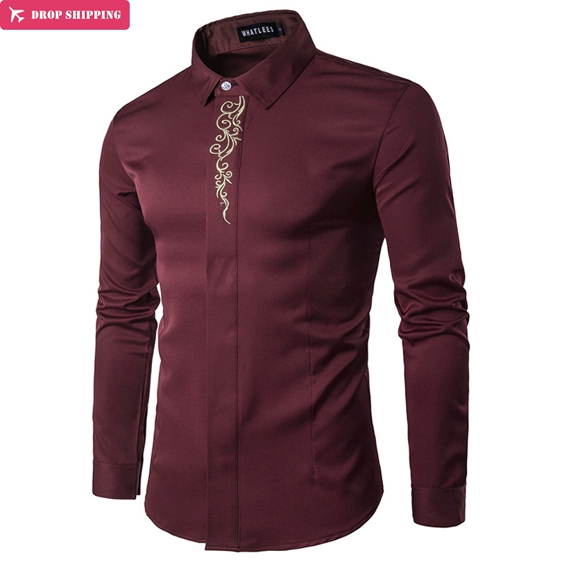 Calidad Mezclas de algodón suave y ligero Material Camisa de manga larga para hombres Camisas de bordado casual Camisa masculina Slim Fit, G7490